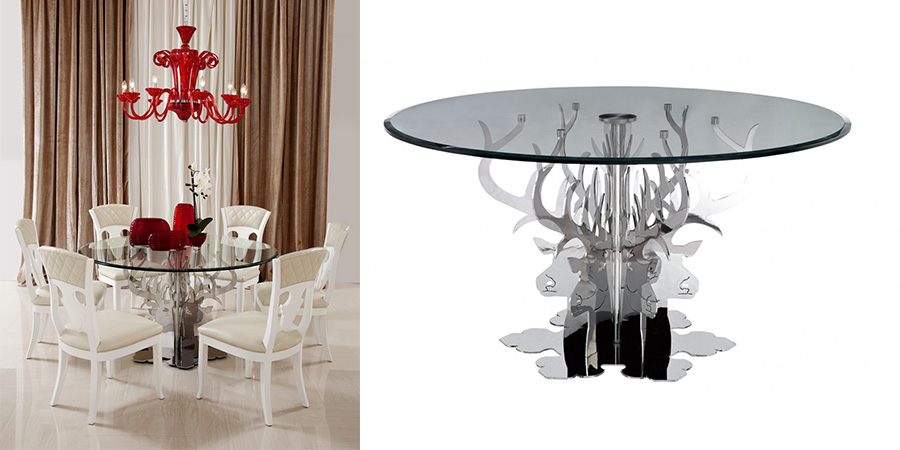 A Class On Its Own The Emptation Dreama Round Luxury Glass Dining Table Provides Your Room Opulent Service While You Dine With Family And