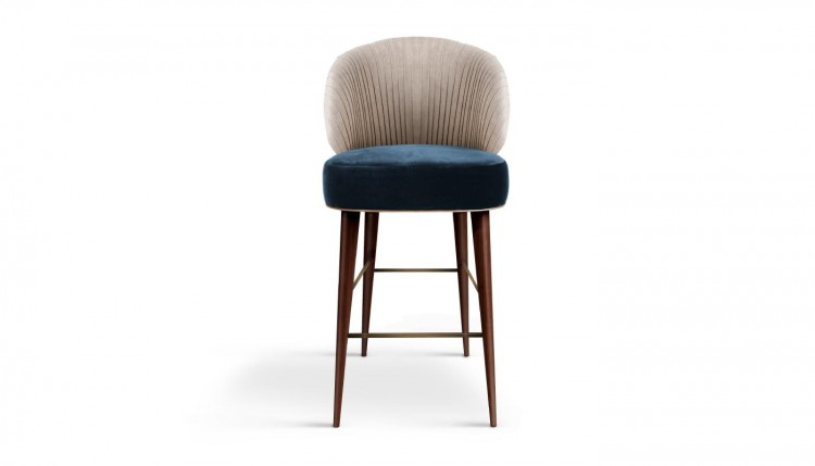 Canyon Bar Chair in blue and white cotton velvet