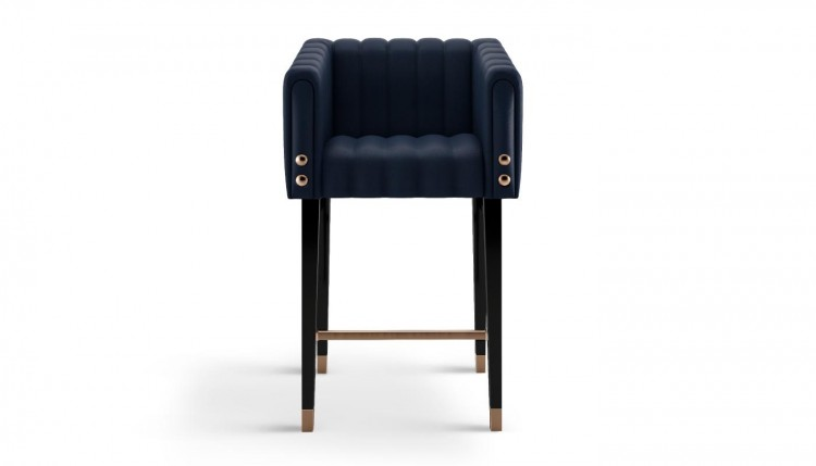Inglewood Bar Chair in navy blue leather