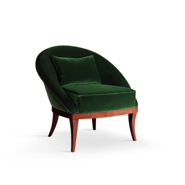 Kim armchair by Ottiu in green cotton velvet