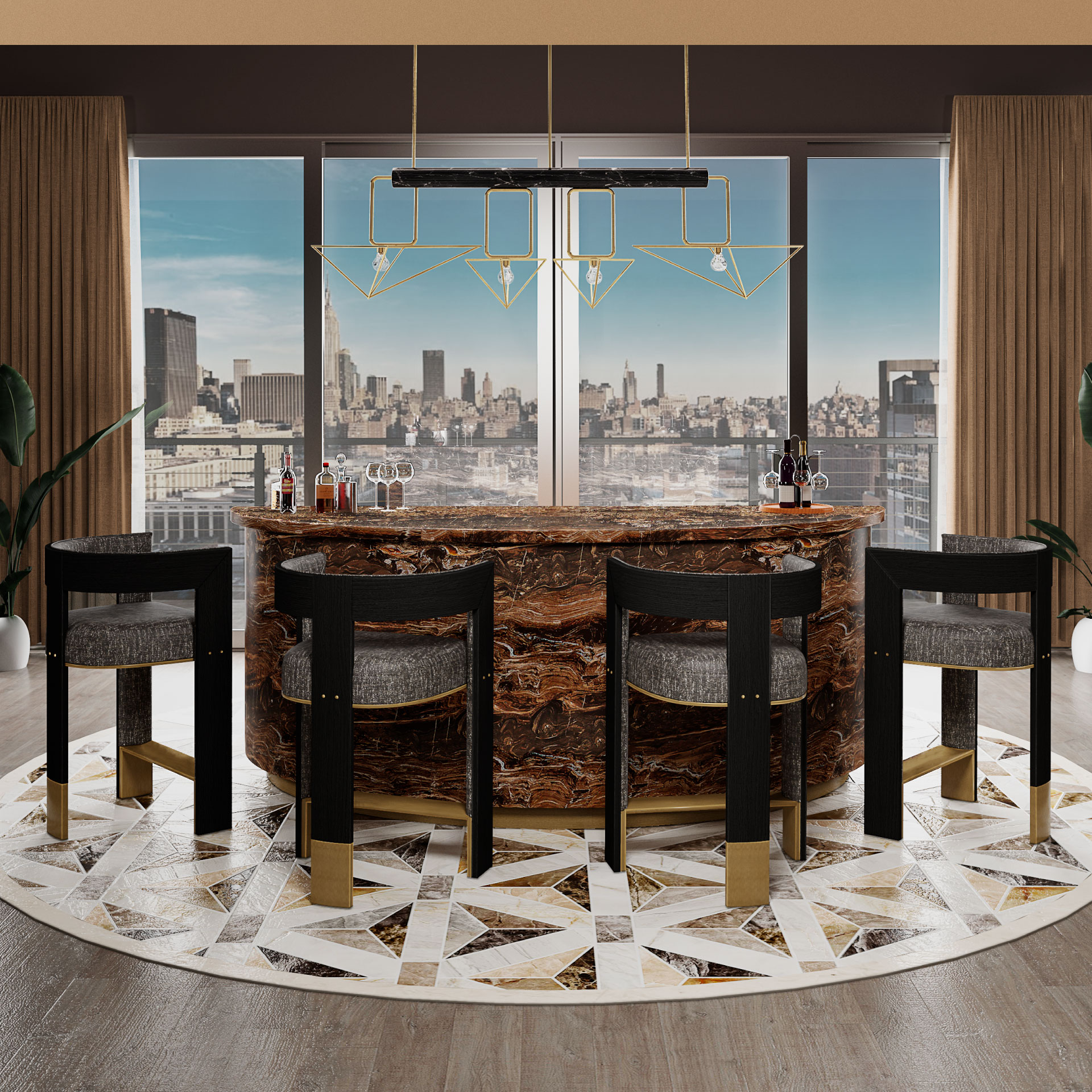 Brooklyn Bar Chair and White House Suspension Lamp