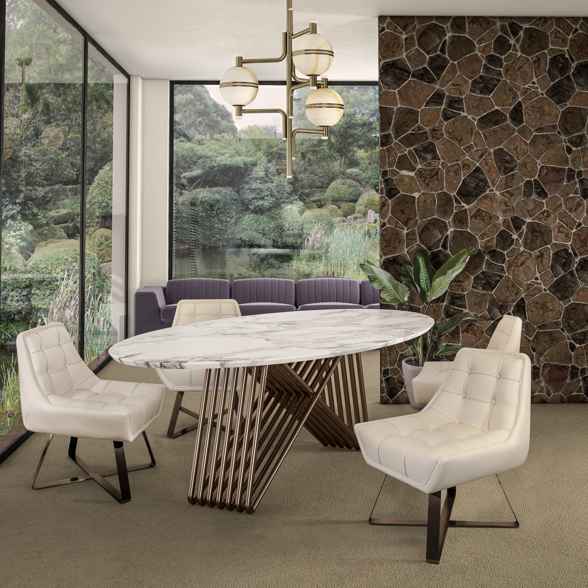 Kubrick Dining Chair, Yosemite Sofa and Broad Dining Table